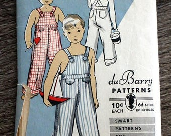 SAVE - ON SALE 1930s Du Barry sewing pattern #1201B in child's size 12 - For boys or girls - Overalls w/ back pockets and front flaps - Unpr