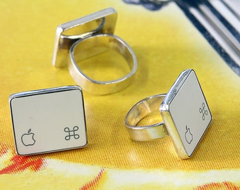 SALE - Computer Key Jewelry - rePURPOSED White Apple Logo MacBook Command Key v1 Sterling Silver Ring