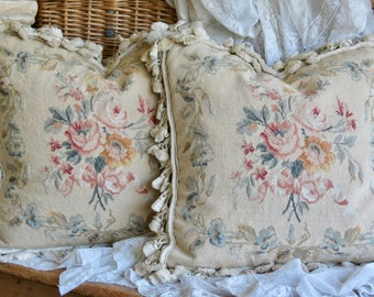 Vintage Shabby Chic Beautiful.......French Aubusson Pillows