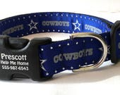 "Dallas Cowboys Personalized Dog Collar in 1"" wide style"