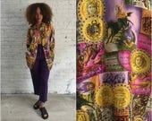 vintage novelty circus print silk blouse / status print shirt / colorful animal and sun printed silk dress top