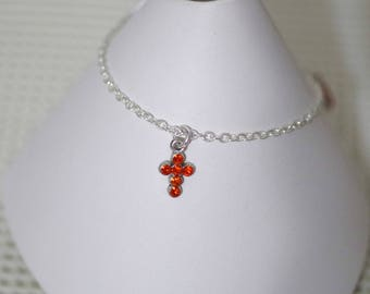 Anklet / Ankle Bracelet - Pewter Cross With Rhinestones - All Color Choices - All Sizes - Sterling SilverFilled Chain - Personalized