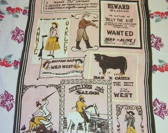 ON SALE Vintage Towel Signs of the Wild West