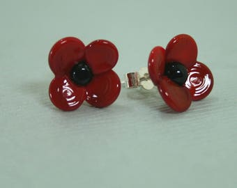 14mm Poppy Stud Earrings Handmade Lampwork Glass and Sterling Silver