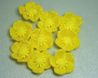Bright Yellow Buttercup Lampwork Flower Flat Back / Cabochons SRA FHF