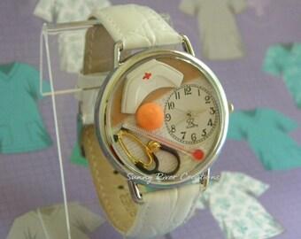 Nurses Watch with Gauze Bandage Cap Aspirin Stethoscope Thermometer