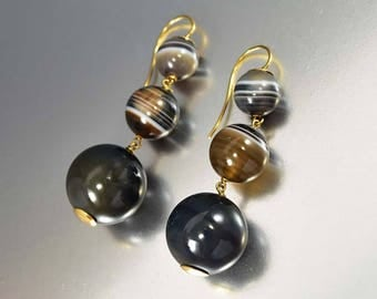 Antique Gold Banded Agate Earrings, Victorian Earrings, Long Drop Pierced Dangle Statement Earrings, Black Banded Agate Scottish Jewelry