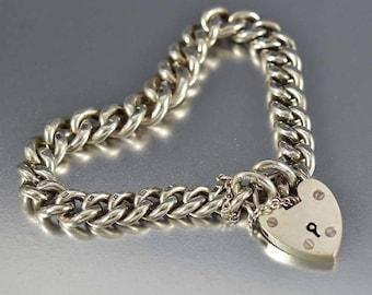 Antique Padlock Curb Chain Bracelet | Sterling Silver English Heart Padlock Bracelet | Heavy Albert Pocket Watch Chain | Antique Bracelet
