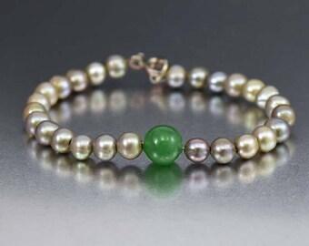 Vintage Gray Cultured Pearl Jade Bracelet | Natural Freshwater Pearl Bracelet | Green Jade Bracelet | Jade Bead Gray Pearl Bracelet