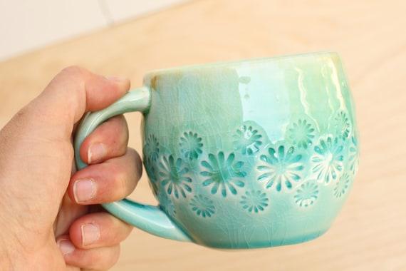 aqua mug, porcelain