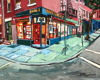 Three Lives & Company bookstore NYC Reading, books, Book Lover Gift for Writer New York Art Three Lives Bookstore painting Gwen Meyerson