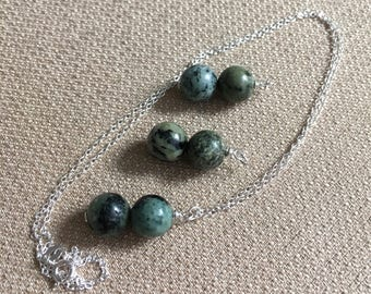 Jasper Necklace, African Turquoise Necklace Semiprecious Gemstone Sterling Silver Chain Necklace Blue Green Pendant Necklace, Beaded Pendant