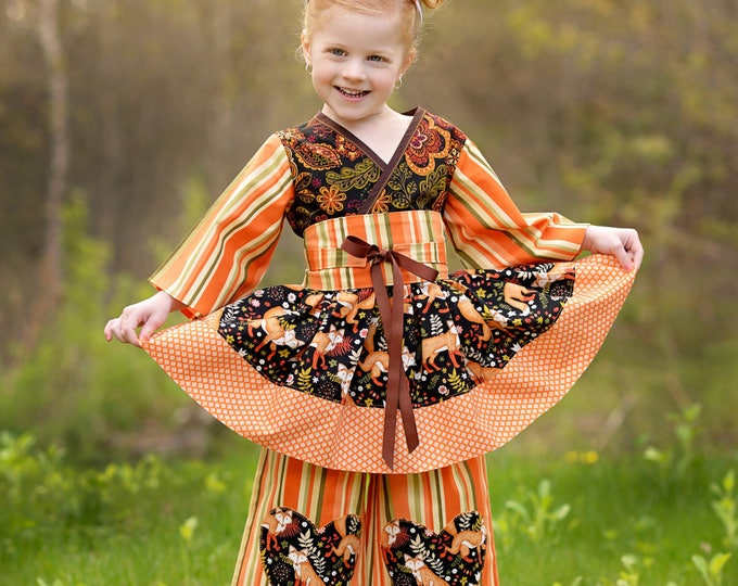Autumn Birthday Outfit for Little Girls - Woodland Fox - Thanksgiving - Fall - Hand Made 4 pc Set Top, Pants, Sash, and Ears - 2t to 7 yrs