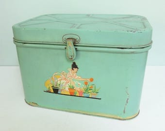 1940s Jadeite Green Metal Bread Bin with a Vintage Garden Lady Decal, Small Size Bread Box, Charming!