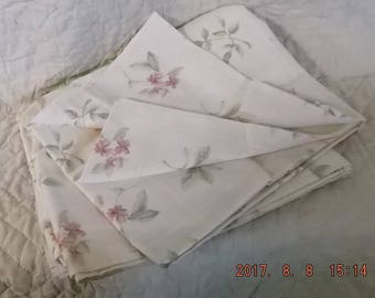 Vintage 3yds Cotton Sail Cloth Upholstery Fabric  Floral Pink Rose Green on Ivory Window Pane Pillows Draperies Table cloths Napkins Patio