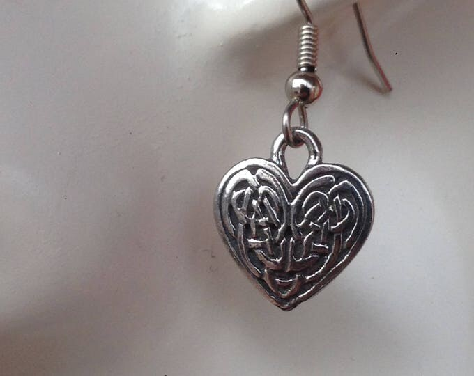 Mini Celtic knot Heart shaped earrings made with Australian Pewter and Surgical Steel hook