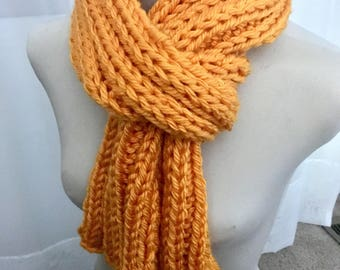 Chunky Ribbed Knitted Scarf- Gold