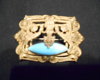 Antique Victorian Repousse Gilt Brass Stylized Turquoise Stone Sash Pin Brooch
