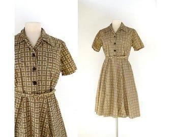 20% off sale Vintage 50s Dress | Alma Mater | Shirtwaist Dress | 1950s Vintage Dress | Large L