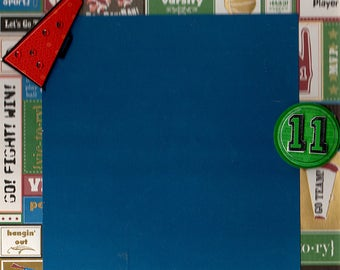 Junior, Pre-Made Scrapbook Album Page, 8x8, Quick Page, School Page, Will work on a 12x12 page