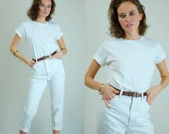 SALE 25% off sundays James Dean Tee Vintage Classic Crisp Minimalist Androgynous White Cotton Ringer T Shirt (m l)