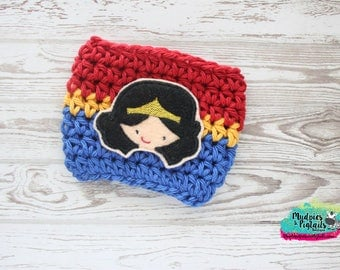 Marvel Coffee Cup Cozy { Wonder Woman } red blue yellow gold, girl Summer Coffee cup cozie, coffee sleeve, stocking stuffer, or plastic cups