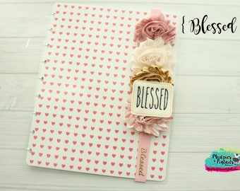 Rae Dunn Planner band { Blessed } rose gold pink glitter, cream, neutral planner accessories bible journaling, faith, bible art
