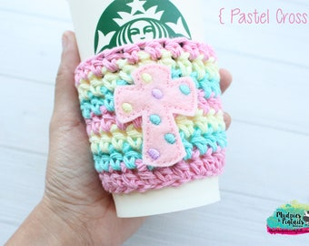 Spring Cup cozy { Pastel Cross } christian, rainbow holidays gift cozy, spring crochet Coffee sleeve, knit mug sweater