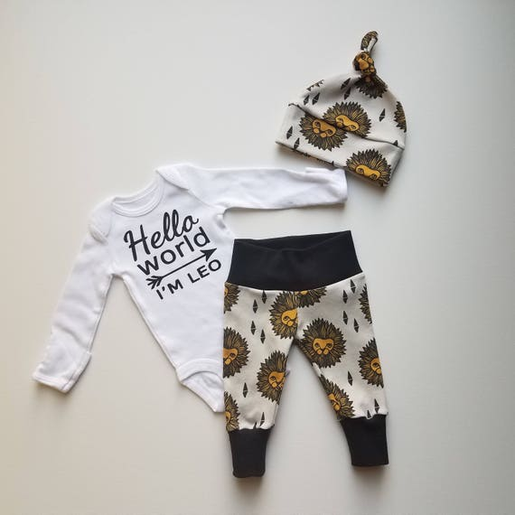 Personalized Baby Boy Newborn Coming Home Outfit.  Hello World. Bring Home Baby Outfit Gift Set. Boy Coming Home Outfit. Lion.