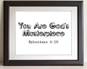 You Are God's Masterpiece - 11x14 Unframed Typography Art Print - Great Nursery or Child's Room Decor