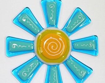 Glassworks Northwest - Brilliant Aqua and Turquoise Flower Suncatcher - Fused Glass Suncatcher