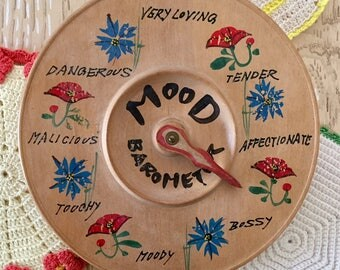 """Mood """"Ring"""" Barometer, 1950s Kitschy Wooden Tchotchke, Wooden Plaque with Dial and Hook"""