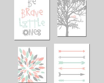 Twin Nursery Artwork Twin Nursery Decor Tribal Nursery Art for Twins Arrow Nursery Art Coral and Mint Nursery Decor - Set of 4 Prints