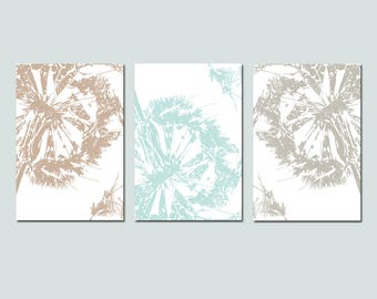 Dandelion Decor Dandelion Wall Art Dandelion Art Dandelion Prints Set of 3 Dandelion Prints Floral Wall Art Modern - CHOOSE YOUR COLORS