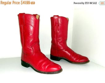 Rockin Red leather Justin brand Roper style cowboy boots size 4.5 B