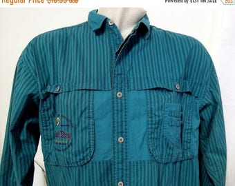 1980s Bugle Boy Striped Button Up shirt - Green and black - preppy clothing