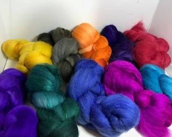 Spinning Fiber Organic Polwarth/Bombyx 80/20 - 10oz - Rainbow (double)