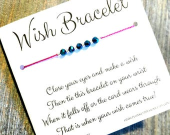 Wish Bracelet - Available In Over 100 Different Colors!!!  (Mystic Blue Crystals)
