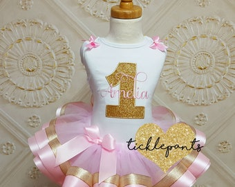 Girls birthday outfit - Name and age - For ALL AGES - Pink and gold glitter- Includes top and ruffled tutu - Available in TONS of colors