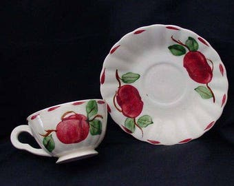 SALE Blue Ridge Cup and Saucer Hand Painted BEADED APPLE Vintage Set Southern Potteries Colonial Dinnerware  (B32) 9995