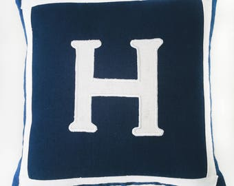 Navy blue monogram pillow. Blue and white letter pillow. Nevy initial  cushion cover. Personalize gift  pillow custom made throw pillow