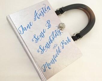 Sense and Sensibility Book Purse - Jane Austen Book Cover Handbag - Emma Book Clutch - Jane Austen Bookish Fashion - Purse made from a book