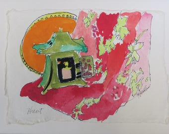 gift card, watercolor card, hand done, hand painted, painted from life, pink, orange, green, Chinese lantern, card and envelope, red print