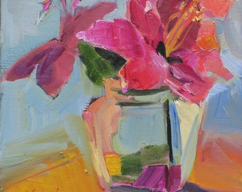 pink hibiscus impressionism painting- glass vase pink - thick paint - expressive - small floral - colorful floral painting - orange pink