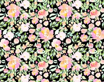 Fairy Flowers on Black Fabric - Blooming Fairy Florals / Black By Shopcabin - Baby Girl Nursery Cotton Fabric By The Yard With Spoonflower