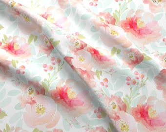 Floral Watercolor Fabric - Indy Bloom Pink Plush Florals By Indybloomdesign - Baby Girl Nursery Cotton Fabric By The Yard With Spoonflower