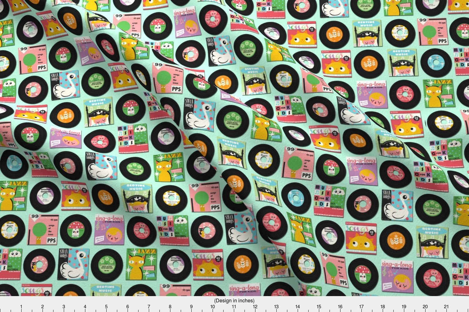 Retro vinyl fabric children 39 s records by heidikenney for Vintage childrens fabric by the yard