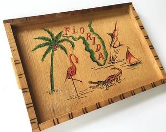 Vintage Florida bamboo tray 1950s drink serving flamingo palm tree alligator sailboat Floridiana souvenir kitsch