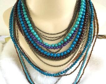 Multi Strand Beaded Necklace Vintage Shades of Blue & Purple
