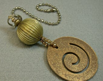 Vintage Steampunk Fan Light Pull, Gold Spiral Cut Out Metal Bead ,Vintage Brass Beads, Vintage Gold Plated beads